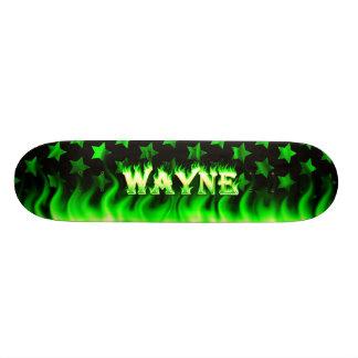 Wayne skateboard green fire and flames design