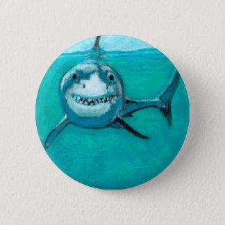 """""""Wayne"""" The Great White Shark 6 Cm Round Badge"""