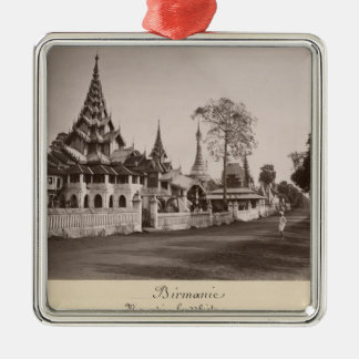 Wayzayanda monastery and pagodas at Moulmein Silver-Colored Square Decoration