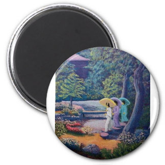wc strolling paradise 6 cm round magnet