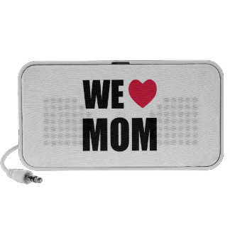 WE <3 MOM - Black Text and Red Heart Design Travel Speakers