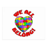 We all belong puzzle heart post card