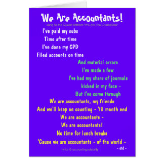 We Are Accountants! Accounting Song Parody Lyrics Card