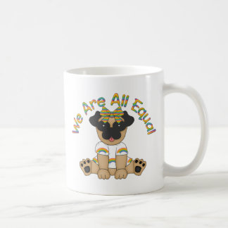 We Are All Equal Pug Tees, Gifts - Pastel Rainbow Basic White Mug