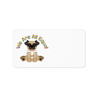 We Are All Equal Pug Tees, Gifts - Pastel Rainbow Address Label