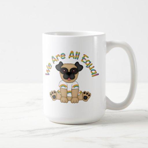We Are All Equal Pug Tees, Gifts - Pastel Rainbow Mugs