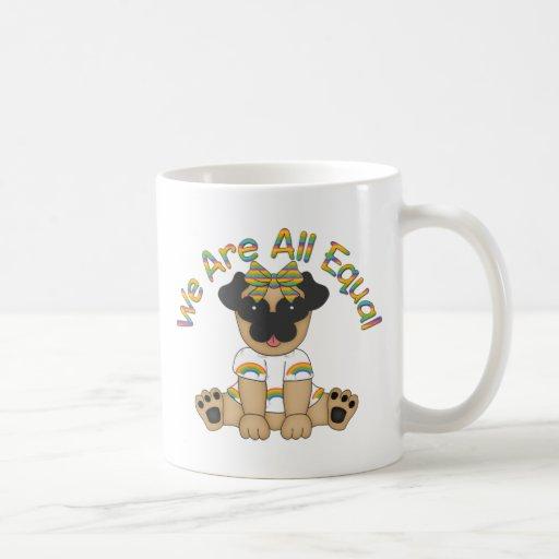 We Are All Equal Pug Tees, Gifts - Pastel Rainbow Mug