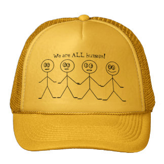 We are ALL HUMANS Cute Stick Figures Equality Cap