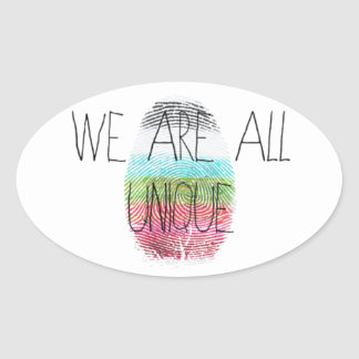 we are all unique oval sticker