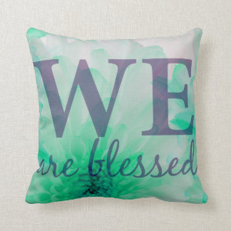 We are Blessed - Lilac & Blue Floral Print Cushion
