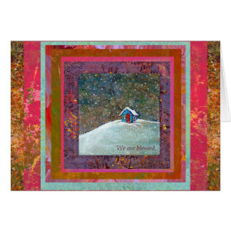 We are blessed little house snow winter art greeting card