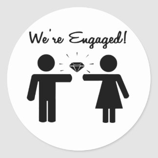 We Are Engaged Classic Round Sticker