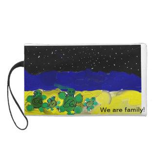 We are family night beach sea turtles wristlet