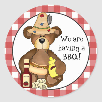 We are having a BBQ Bear sticker