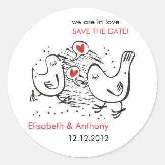 we are in love STD with cute birds Round Sticker