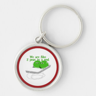 We are Like Two Peas in a Pod Silver-Colored Round Key Ring