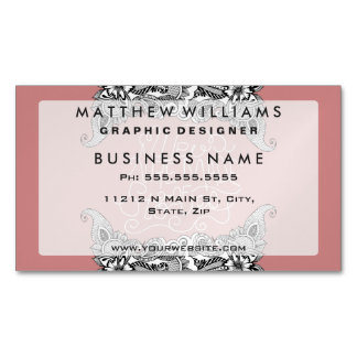 """""""We are Made of Stories."""" Floral Drawing & Pink Magnetic Business Cards"""