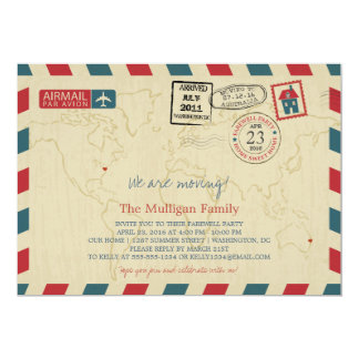 We Are Moving Airmail | Farewell Party 13 Cm X 18 Cm Invitation Card