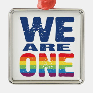 We Are One - Gay Pride Silver-Colored Square Decoration