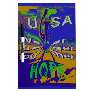 We are stronger together funny USA Hope pattern de Dry Erase Whiteboards