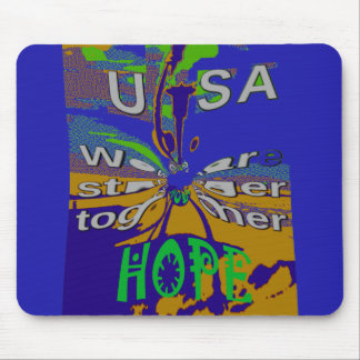 We are stronger together funny USA Hope pattern de Mouse Pad