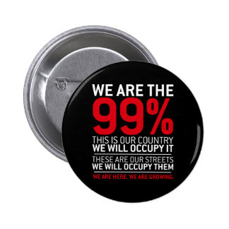 We are the 99% - 99 percent occupy wall street buttons