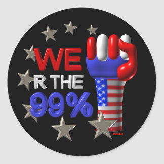 We are the 99 fist on 30 items round sticker