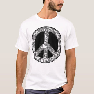 We are the 99% Peace Sign, Black & White on White T-Shirt