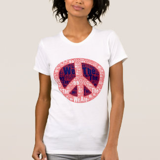 We are the 99% Peace Sign, Red White Blue on White T Shirt
