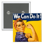 We Can Do It! Rosie the Riveter Vintage WW2 15 Cm Square Badge