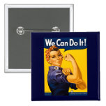 We Can Do It! Rosie the Riveter Vintage WW2 Pinback Buttons