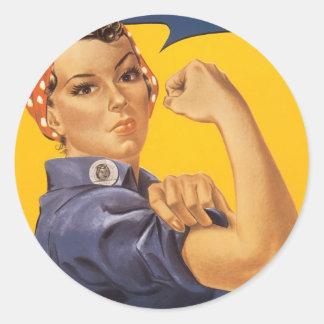 """We Can Do It"" World War ll Poster Detail Round Sticker"