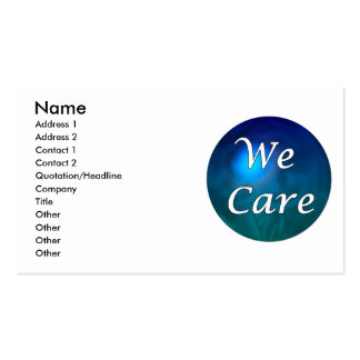 """""""We Care""""- show you care, for any reason! Pack Of Standard Business Cards"""