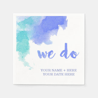 """We Do"" Cocktail Napkin - Watercolor Paper Napkins"