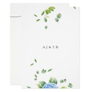 We Do Eucalyptus Hydrangea Wedding Invitation Card