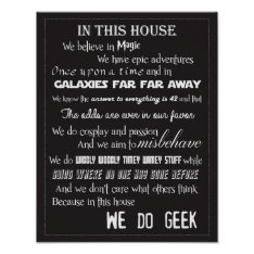 We Do Geek Poster - B/W at Zazzle