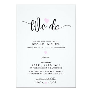 We do pink heart wedding invitation