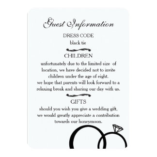 We Do Wedding Guest Information Cards (white) 11 Cm X 16 Cm Invitation Card