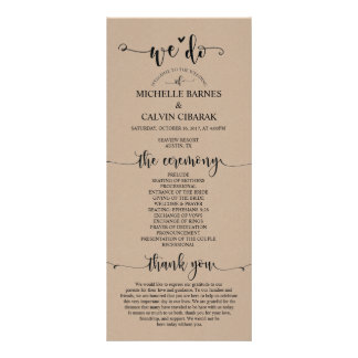 We do Wedding program card in rustic fawn theme