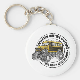 We Don't Need Roads Basic Round Button Key Ring
