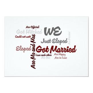 We Eloped | Got Married Word Cloud 13 Cm X 18 Cm Invitation Card