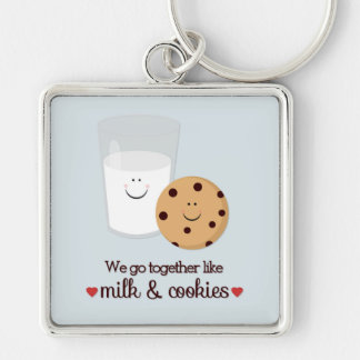 We Go Together Like Milk and Cookies Silver-Colored Square Key Ring