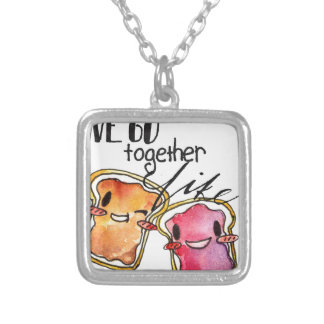 We Go Together like Peanut Butter and Jelly Square Pendant Necklace