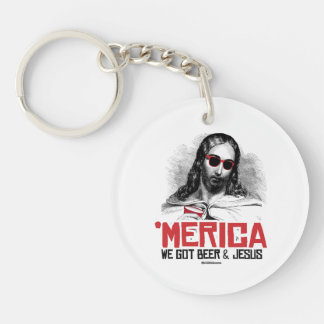We Got Beer and Jesus Double-Sided Round Acrylic Key Ring