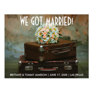 We got married elopement announcement postcard