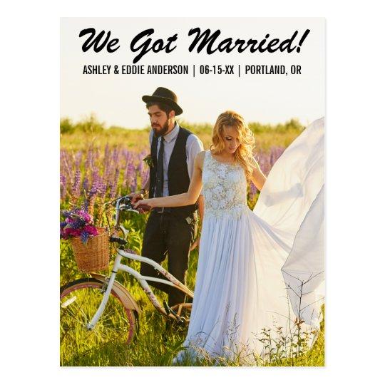 We got married elopement announcement postcard B