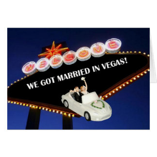 WE GOT MARRIED IN VEGAS! BRIDE & GROOM IN CAR LEAV CARD