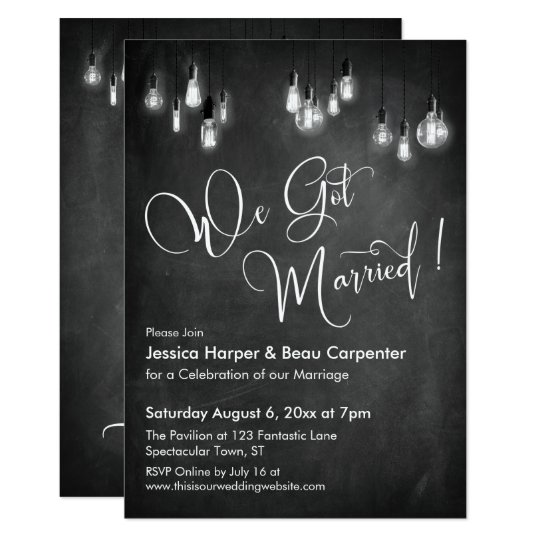 We Got Married Typography Edison Lights Chalkboard Invitation