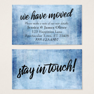 """""""We Have Moved"""" Blue Grunge Typography Insert Card"""