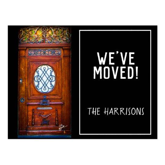 We Have Moved Chic Modern Vintage Wood Door Postcard